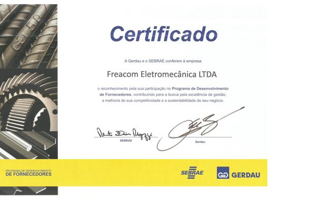 Certificado de Fornecimento Gerdau