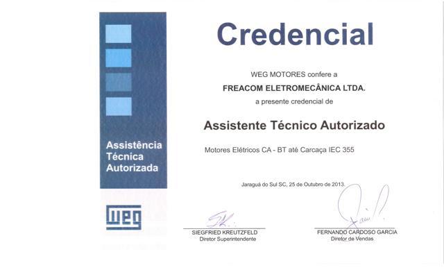 Credenciamento Revenda e Assistência Técnica Autorizada Weg